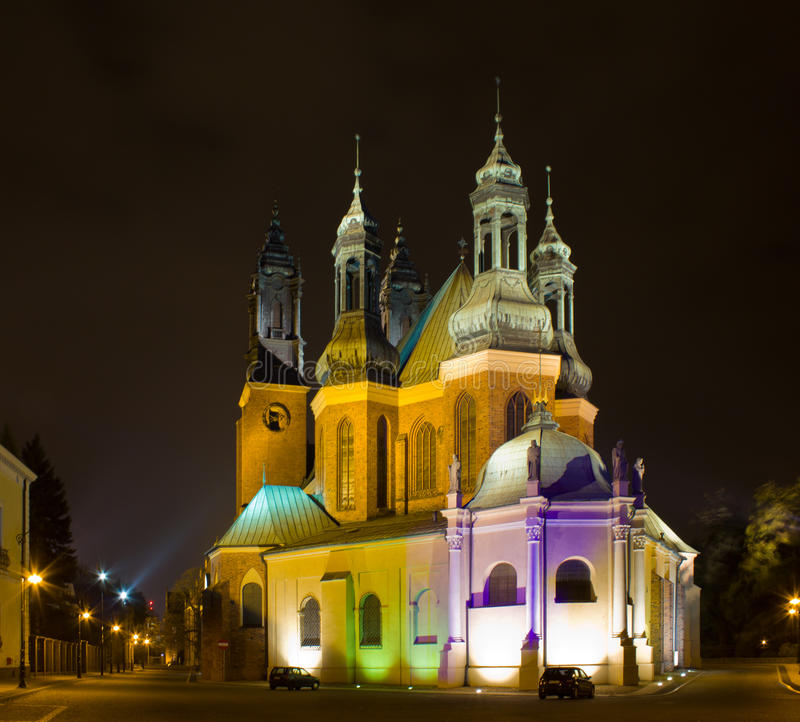 katedralna noc Poland Poznan fotografia stock
