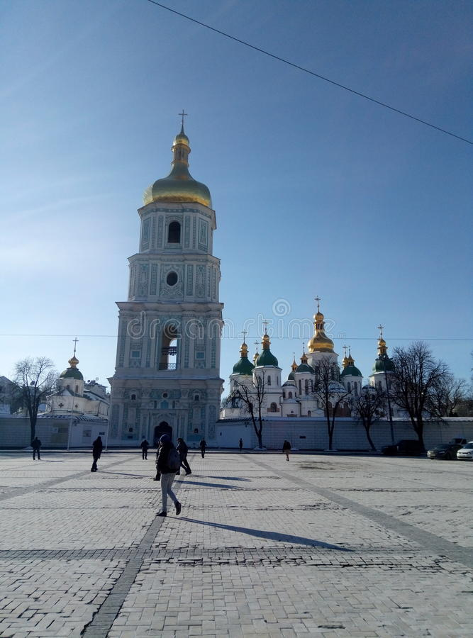 katedralnego centre miasta Kiev świątobliwy sophia Ukraine zdjęcie royalty free