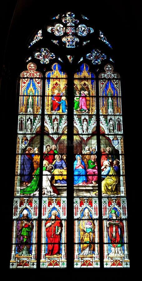 katedralnego cologne szkła pobrudzony okno obraz royalty free