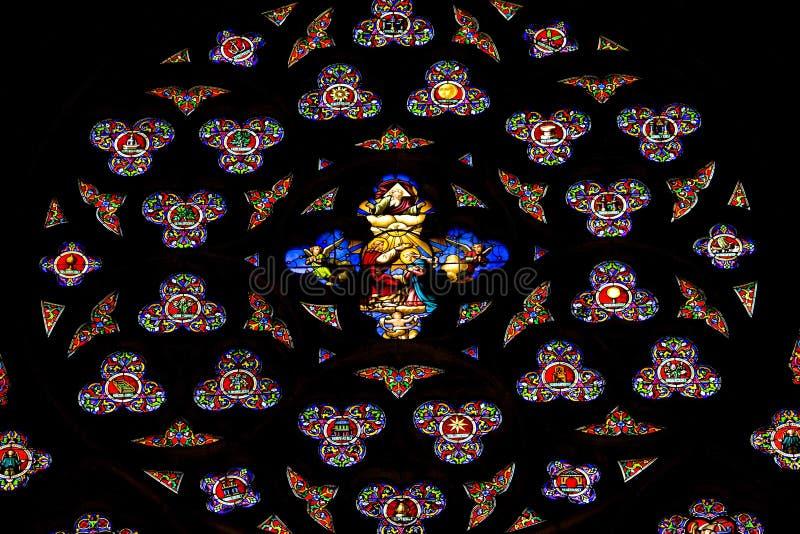 katedralnego szkła Patrick s st pobrudzeni okno obrazy stock