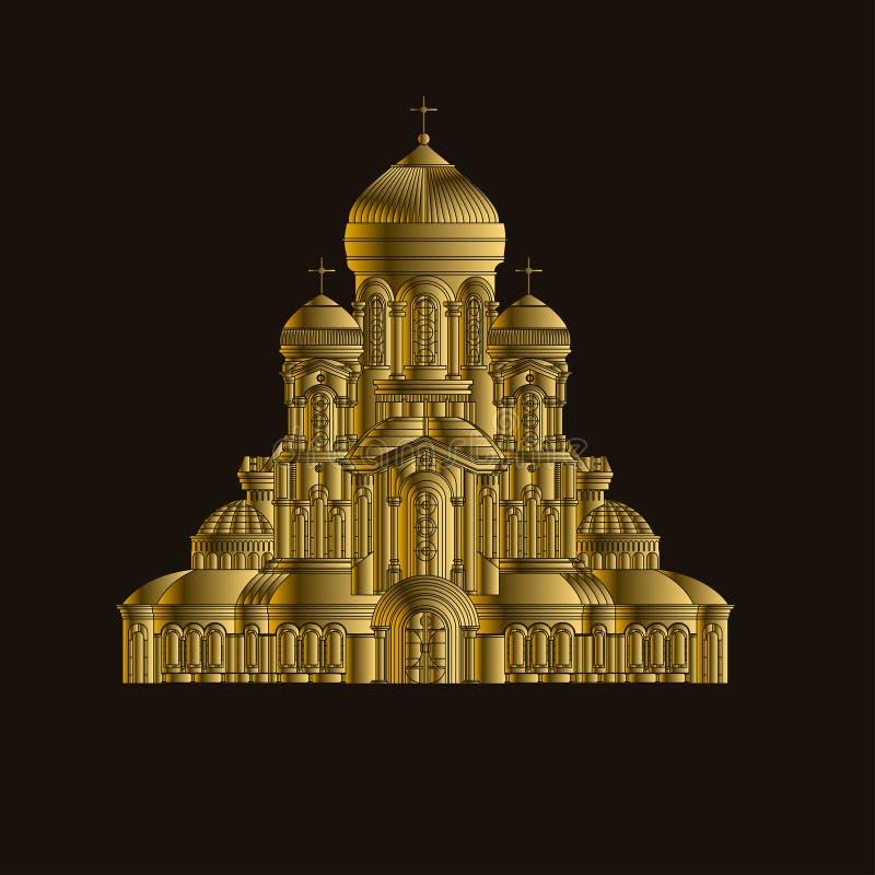Katedralnej ortodoksyjnego kościół budynku punktu zwrotnego świątynnej turystyki światowe religie i sławnej struktury tradycyjny  royalty ilustracja