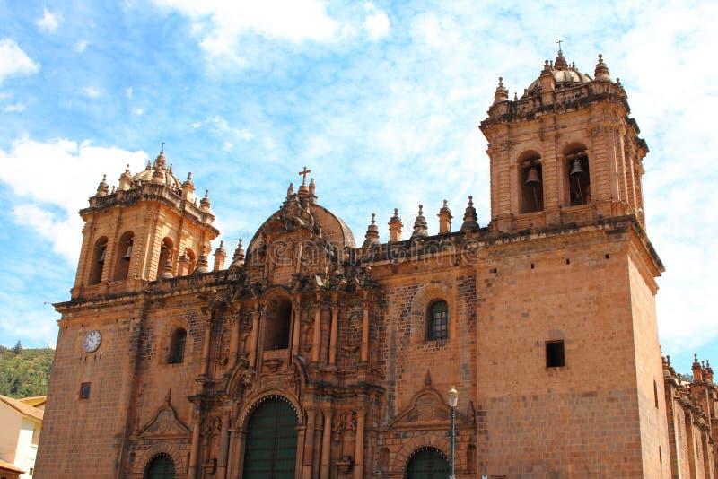 katedralny kościół przy placem De Armas cuzco Peru obrazy royalty free