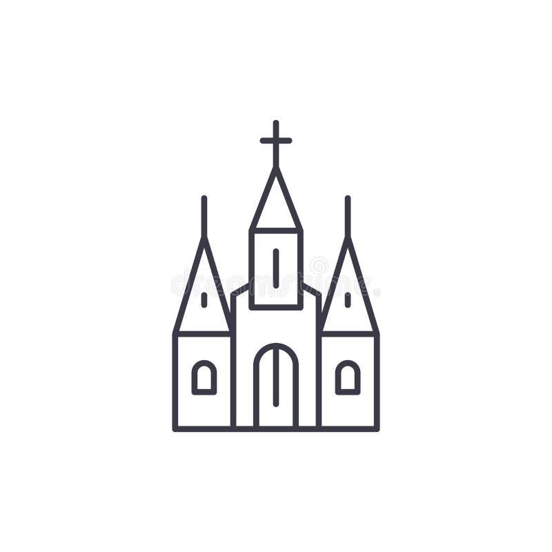 Katedralny liniowy ikony pojęcie Katedra wektoru kreskowy znak, symbol, ilustracja ilustracja wektor