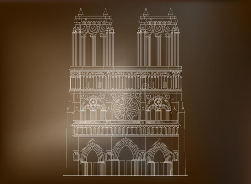 Katedralny notre-dame de paris w Francja - 3 royalty ilustracja