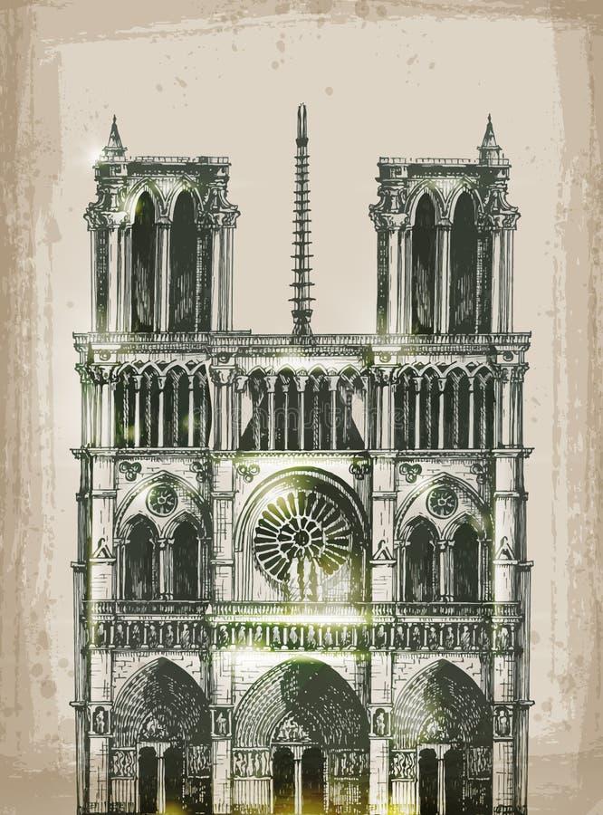 katedralny paniusi de France notre Paris Ręka royalty ilustracja