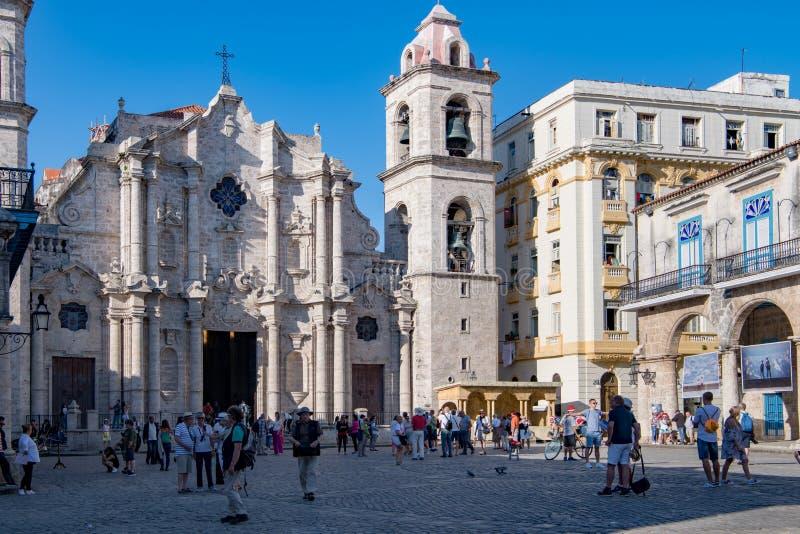Katedralny San Cristobal De Habana, Kuba, kwadrat - Plac De Los angeles Catedral fotografia royalty free
