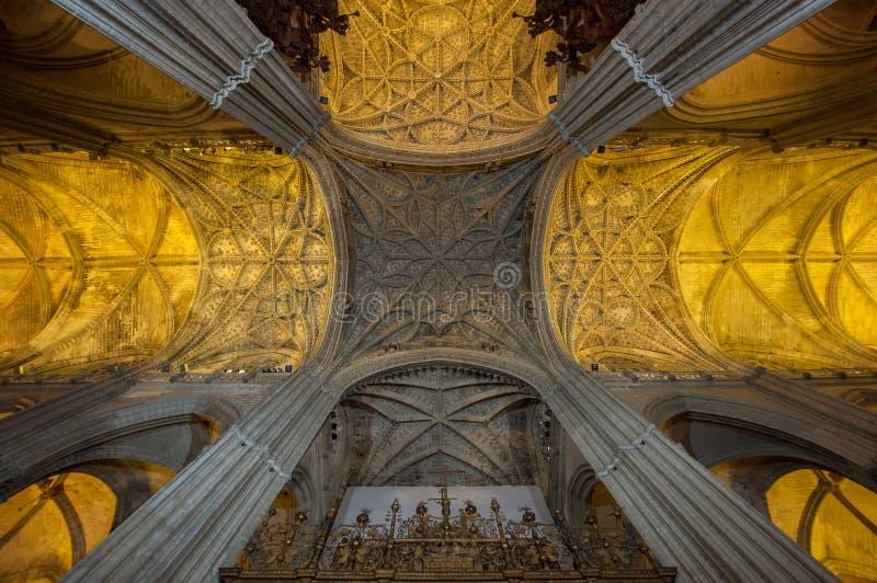 katedralny wewnętrzny Seville Spain obraz royalty free