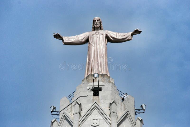 Katedry Święty serce na halnym Tibidabo obrazy stock