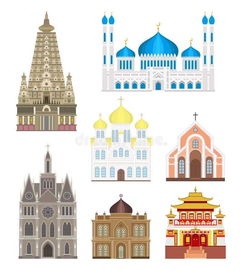 Katedry i kościół infographic świątynni budynki ustawiają architektury Asia punktu zwrotnego turystyki wektor ilustracja wektor