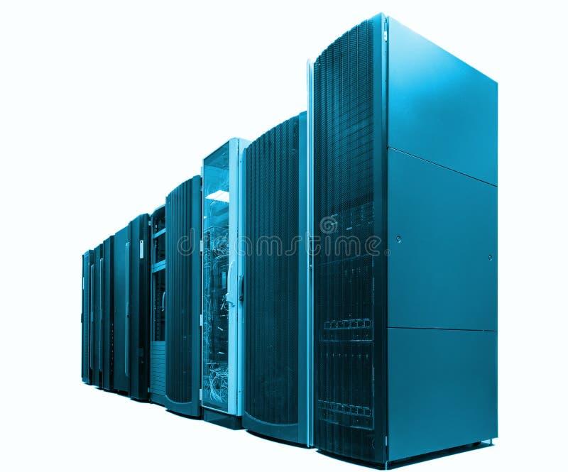 Kategoria nowożytni superkomputery w obliczeniowym dane centrum odizolowywają, błękitny brzmienie obrazy royalty free