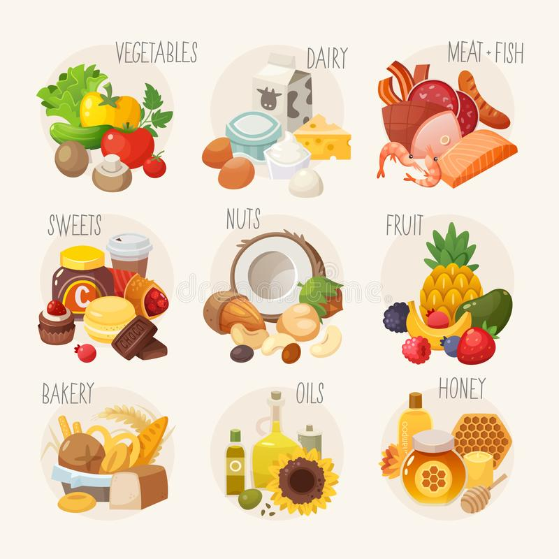 Kategorien des biologischen Lebensmittels vektor abbildung