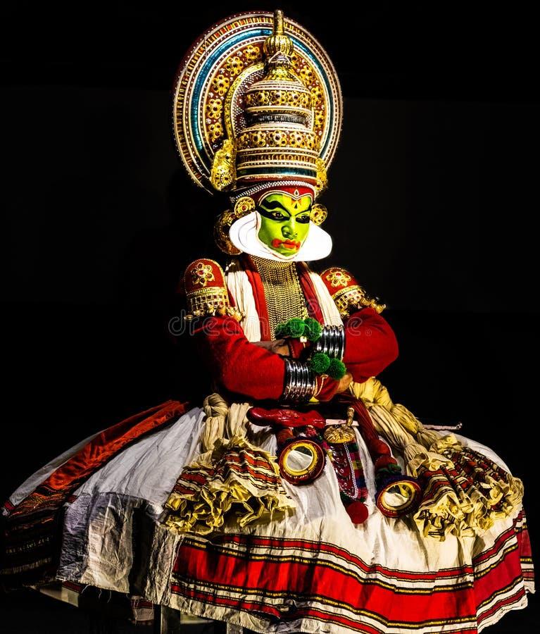 Kathakali喀拉拉古典舞蹈人沈默表示 免版税库存照片