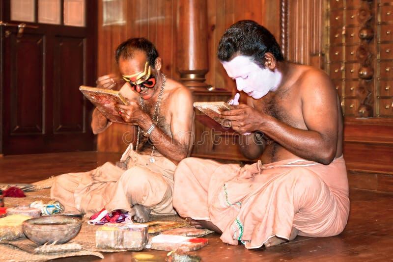 Kathakali演员化妆,印度 库存照片