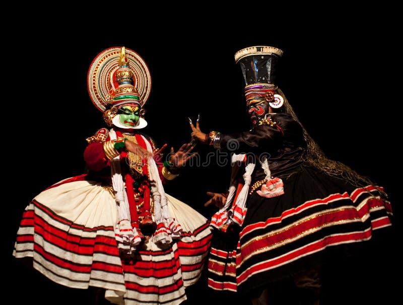 Kathakali舞蹈在喀拉拉,印度 免版税图库摄影