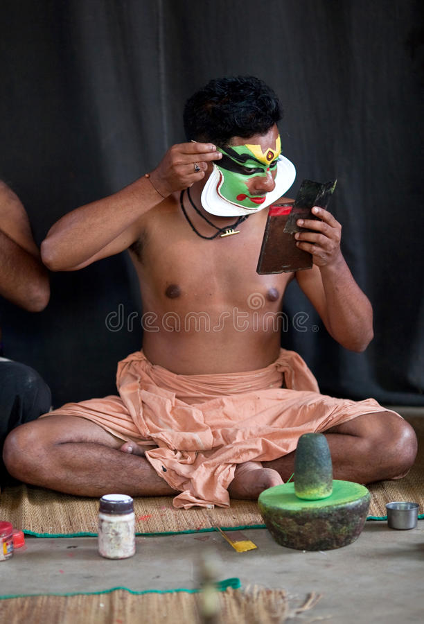 Download Kathakali actor make-up editorial stock photo. Image of face - 19427898