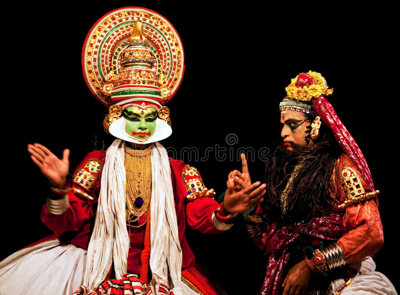 Kathakali actors stock photo