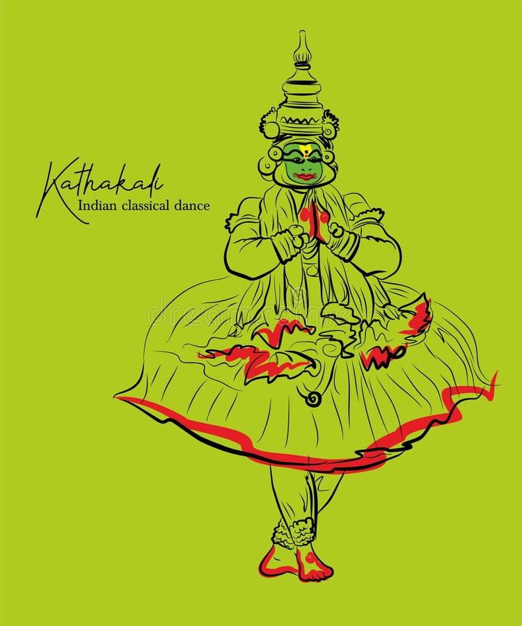 Indian Classical Dance Kathakali Sketch Or Vector Illustration Stock Vector Illustration Of Eventually Flourished 164415332