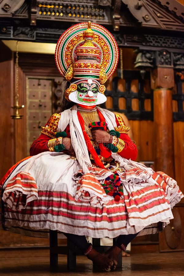 Kathakali dance show in Cochin, India. COCHIN, INDIA - MARCH 14, 2012: Kathakali dance show at Cochin cultural centre in India. Kathakali is one of major forms royalty free stock photo