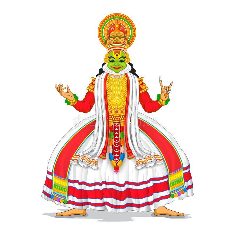 Kathakali dansare stock illustrationer