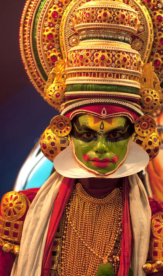 kathakali för 2 dansare arkivbild