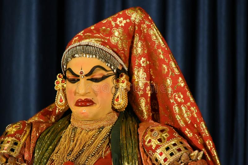 Kathakali, klasyczny Indiański taniec Kerala obraz royalty free