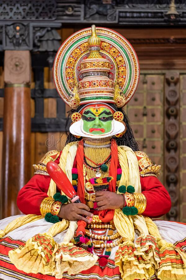 Kathakali performer in the virtuous pachcha green role in Cochin, Kerala, India. Fort Cochin, India - Novenber 26, 2019: Kathakali performer in the virtuous stock images