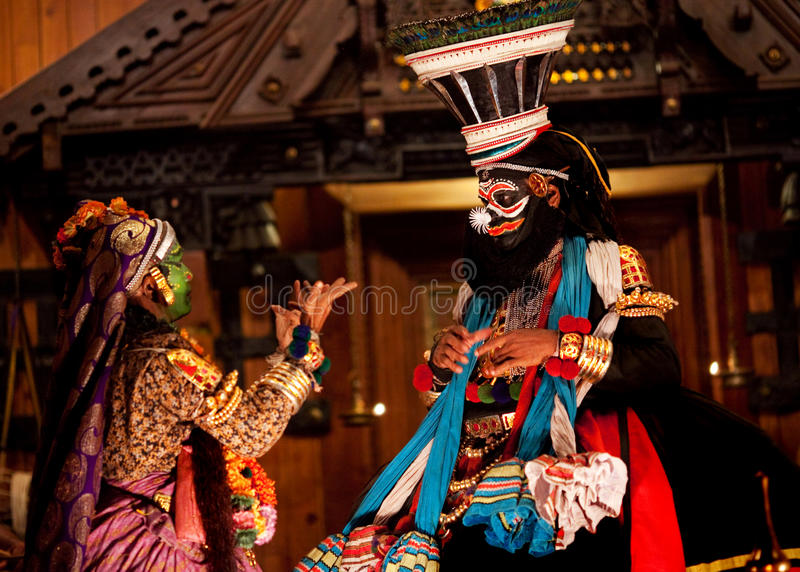 Kathakali performers in India stock photo