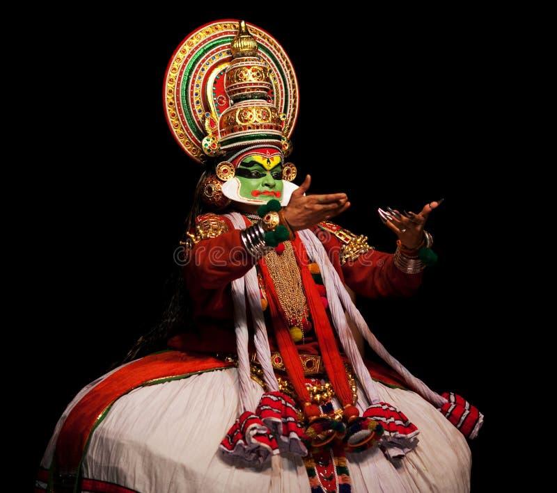 Kathakali Schauspieler in Indien lizenzfreies stockfoto