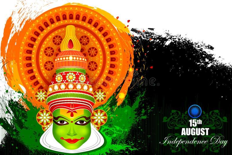 Kathakali-Tänzergesicht auf indischem Unabhängigkeitstagfeierhintergrund lizenzfreie abbildung