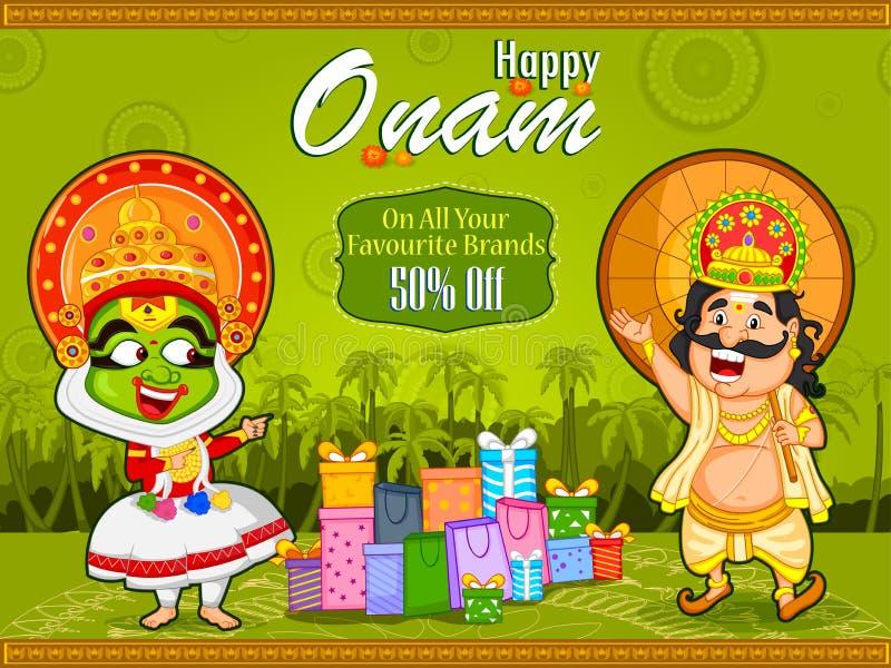 Kathakali tancerz i królewiątka Mahabali ofiara zakupy sprzedaż dla Onam festiwalu Kerala ilustracji