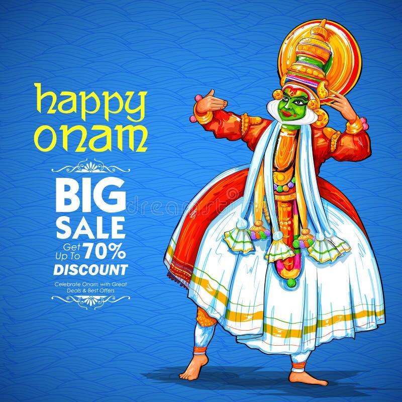 Kathakali tancerz na reklamie i promoci tło dla Szczęśliwego Onam festiwalu Południowy India Kerala ilustracji