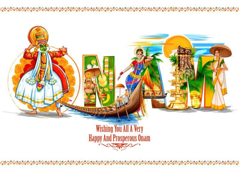 Kathakalidanser op achtergrond voor Gelukkig Onam-festival van Zuid-India Kerala royalty-vrije illustratie