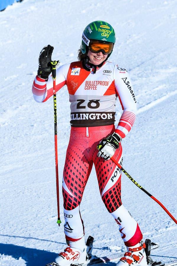 Katharina Liensberger Австрии в зоне финиша после второго ...