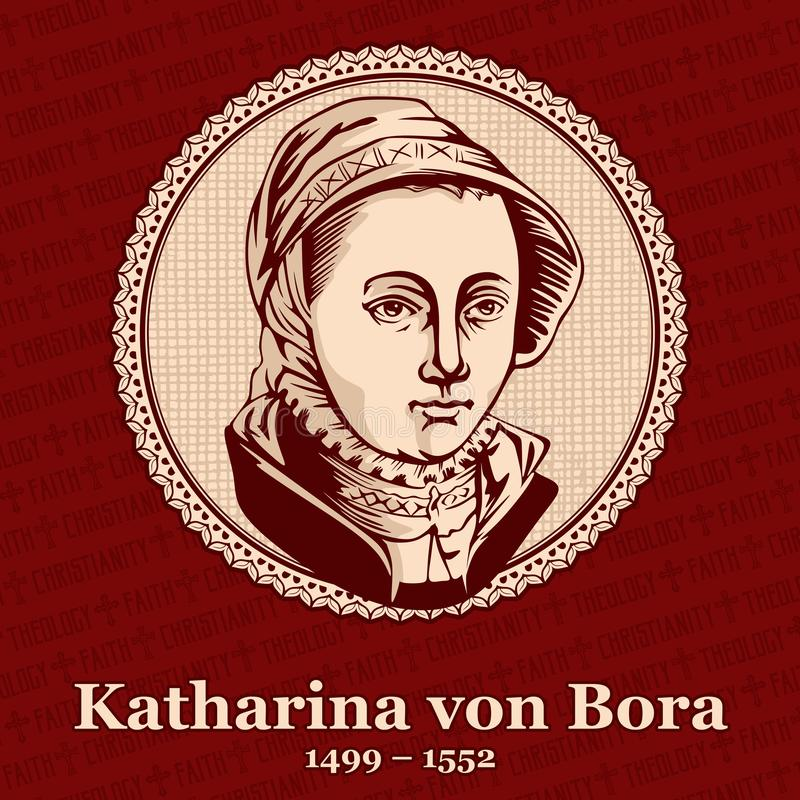 Katharina von Bora 1499 – 1552 was the wife of Martin Luther, German reformer and a seminal figure of the Protestant Reformation.  royalty free illustration
