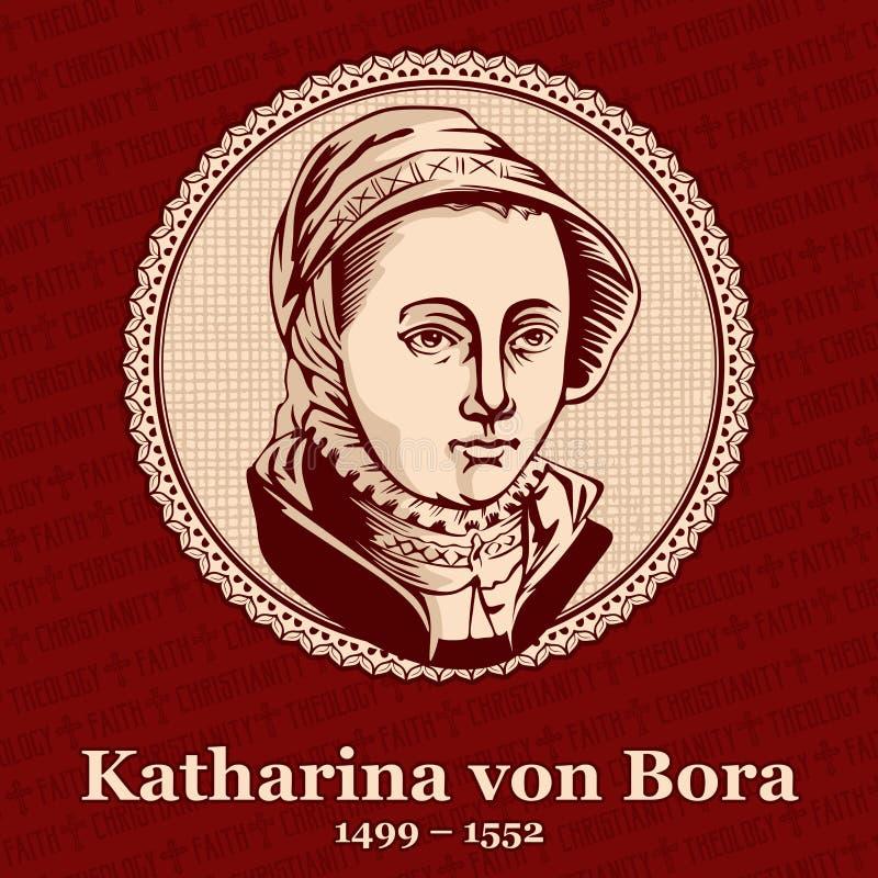 """Katharina von Bora 1499 †""""1552 was de vrouw van Martin Luther, Duitse hervormer en een rudimentair cijfer van de Protestantse H royalty-vrije illustratie"""