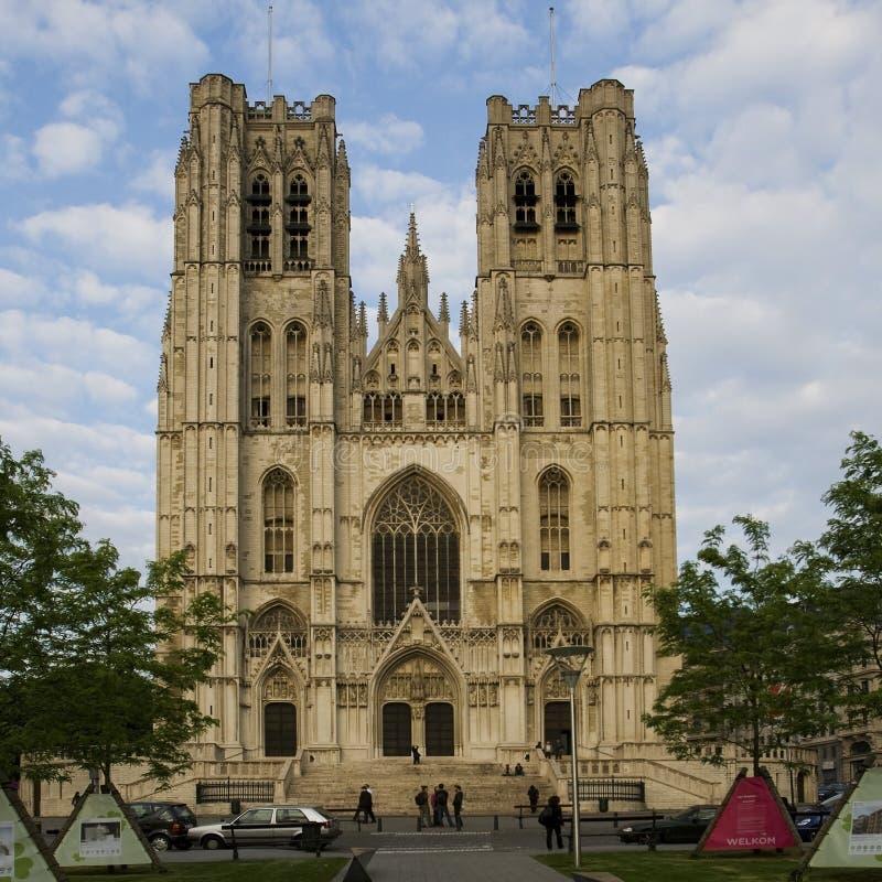 Kathedraal in Brussel stock afbeeldingen