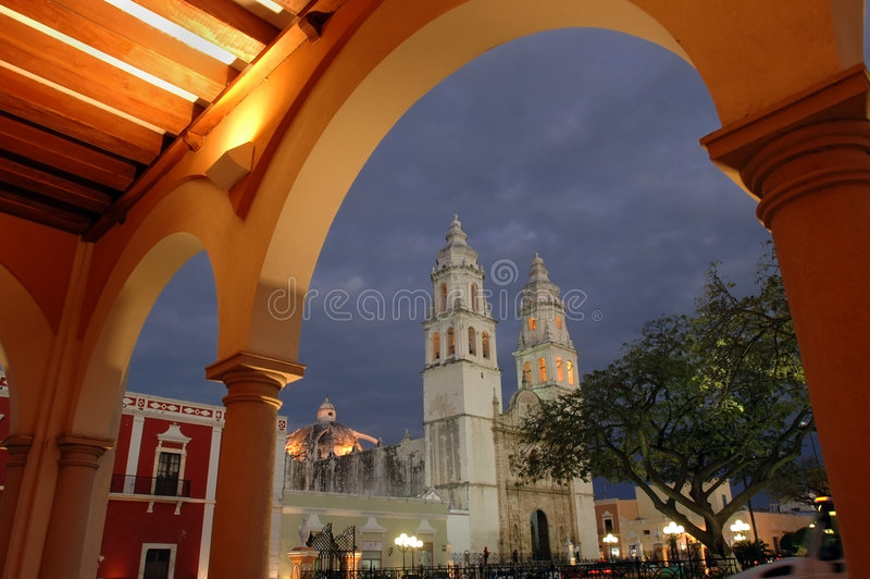 Kathedraal in Campeche royalty-vrije stock foto's