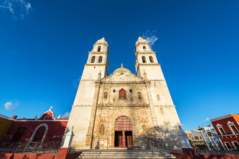 Kathedraal in Campeche stock foto's