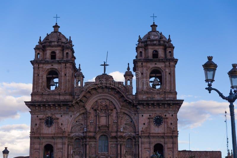 Kathedraal in Cusco vroege avond stock afbeeldingen