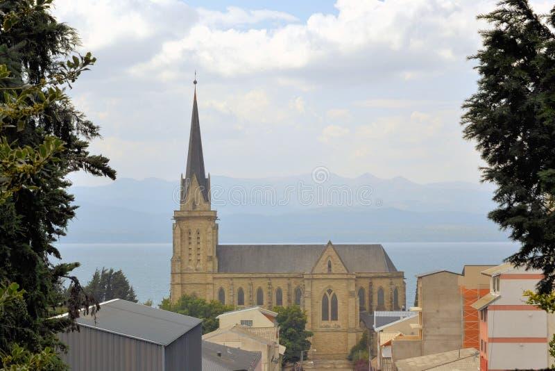 Kathedraal in de stad van Bariloche, Argentinië royalty-vrije stock foto's
