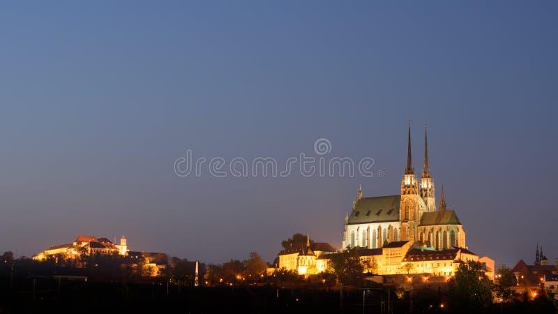 Kathedraal en kasteel in Brno, Tsjechische Republiek royalty-vrije stock afbeeldingen