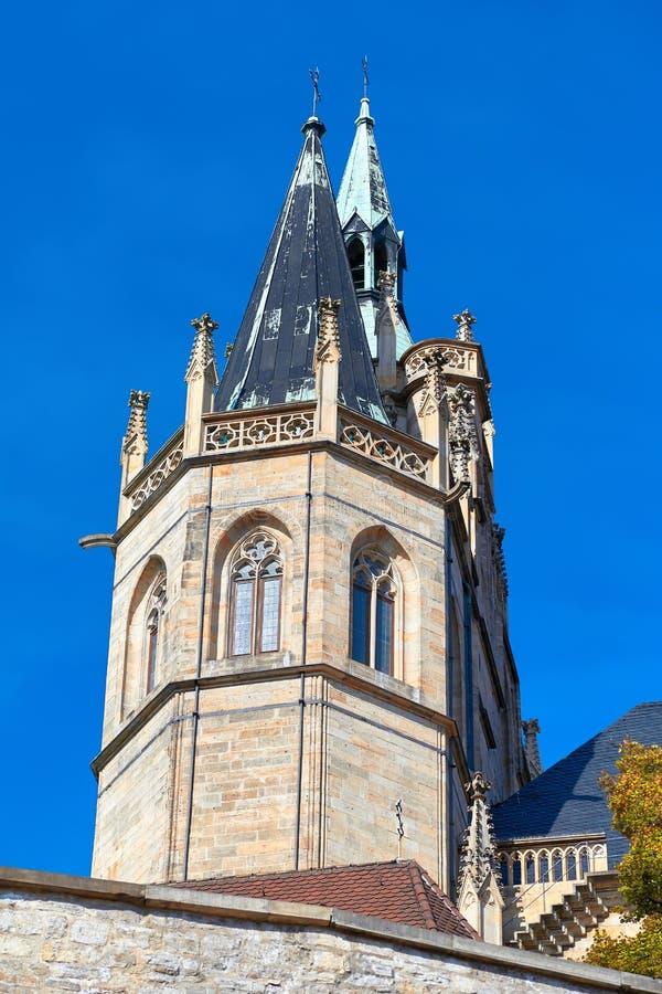 Kathedraal en severi-Kerk in Erfurt in Oost-Duitsland stock fotografie