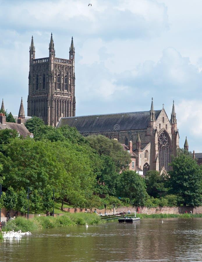 Kathedraal en zwanen royalty-vrije stock fotografie
