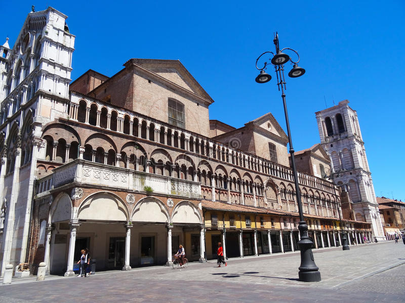 Kathedraal, Ferrara, Italië stock afbeeldingen