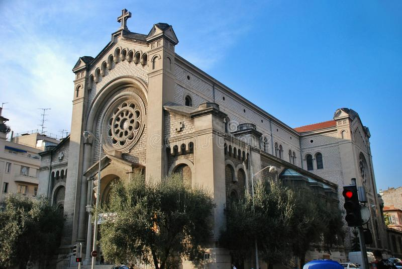 Kathedraal in Franse Riviera, cityscape van Nice Frankrijk stock afbeelding