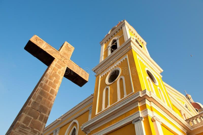 Kathedraal in Granada, Nicaragua, Midden-Amerika. royalty-vrije stock afbeeldingen
