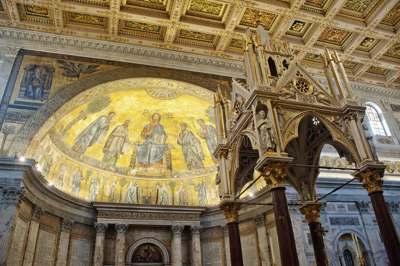Kathedraal heilige Paul uit de muren Rome stock afbeeldingen