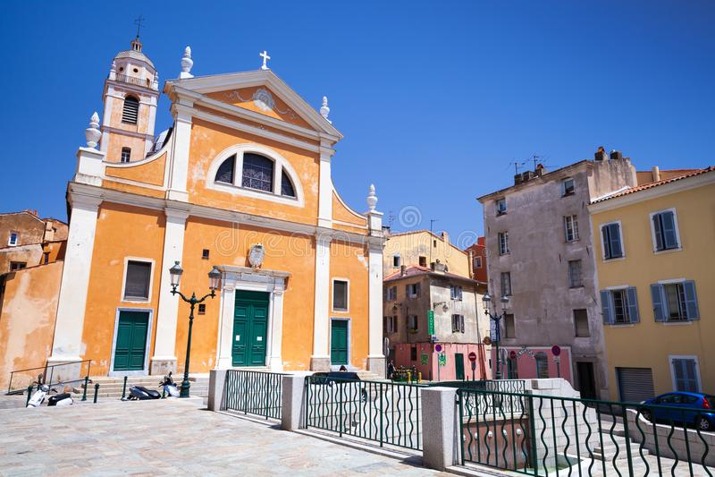 Kathedraal het eiland van van Ajaccio, Corsica stock foto's