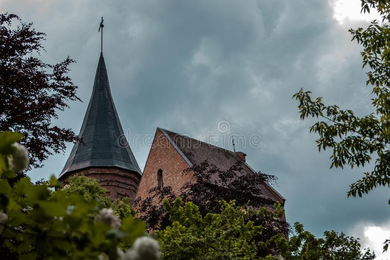 Kathedraal in Kaliningrad, Rusland stock afbeeldingen