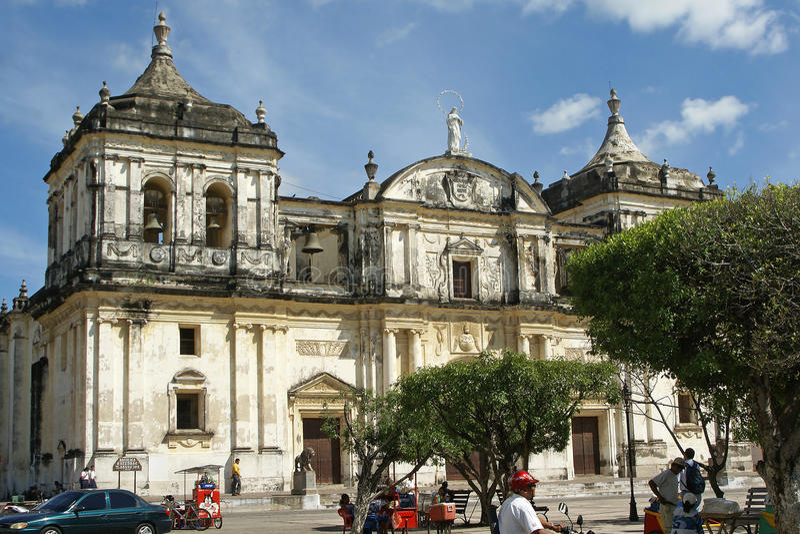 Kathedraal, Leon, Nicaragua stock foto